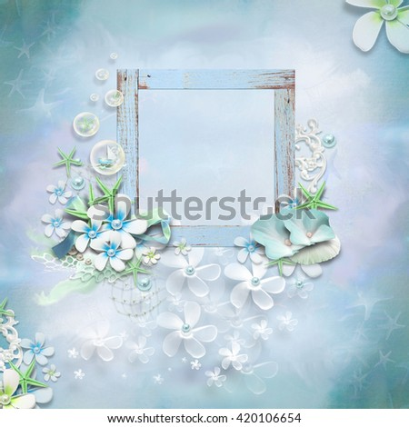 floral frame with empty space for writing - stock photo