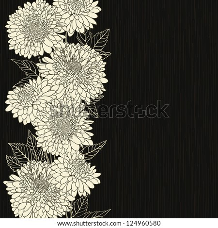 Floral frame with hand drawn flowers - stock photo