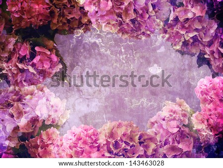 floral frame with patina texture, background for your text - stock photo