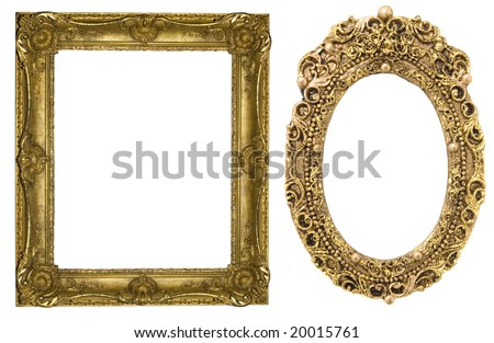 floral gold frames - stock photo