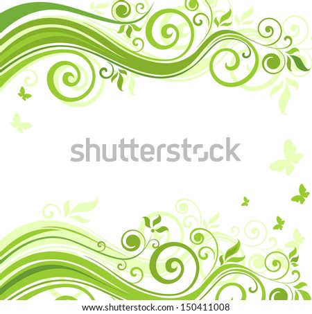 Floral green background. Raster copy - stock photo