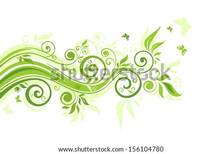 Floral green border. Raster copy - stock photo