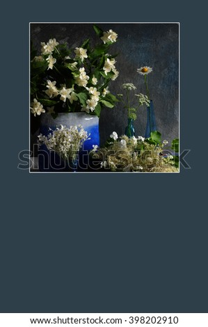 Floral greeting card or poster with copy space.  White flowers in blue vases. Photo with texture enhancement - stock photo