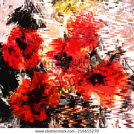 Floral grunge stained and striped background with stylized poppy - stock photo