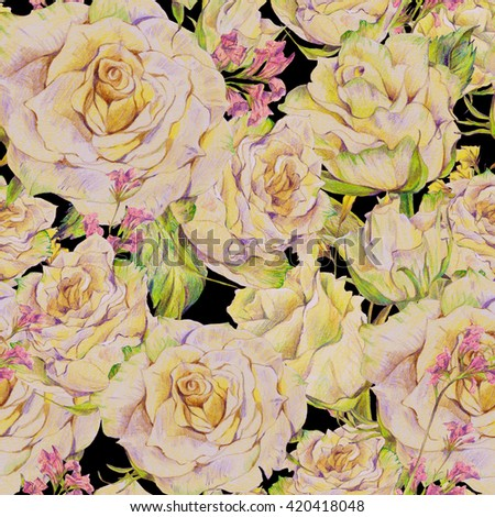 Floral hand drawn seamless background with white roses and wild flowers, pencil drawing floral botanical pattern on black background, rose natural pattern