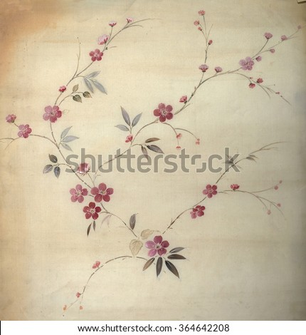 floral hand made design - stock photo