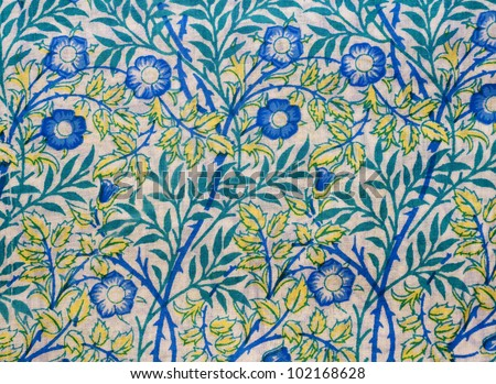 Floral hand printed fabric from India - stock photo