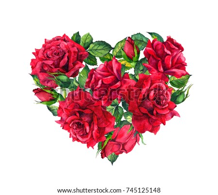 Floral Heart With Red Rose Flowers Watercolor For Valentine Day Wedding
