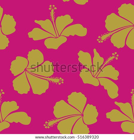 Floral hibiscus flowers, watercolor hand drawing style. Design in magenta and yellow colors for invitation, wedding or greeting cards, textile, prints or fabric. Hibiscus floral pattern.