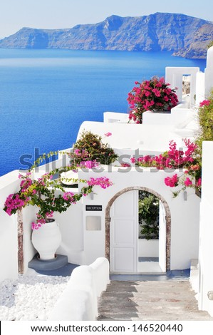 Floral hill in Oia, Santorini - stock photo