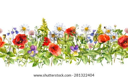 Floral horizontal border for fashion design. Watercolor wild flowers, grass, herbs. Repeated frame - stock photo