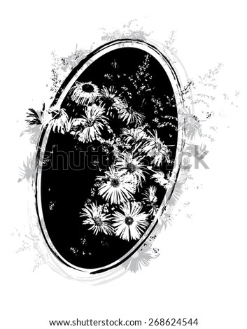 floral illustration with bunch of flowers in black and white colors - stock photo