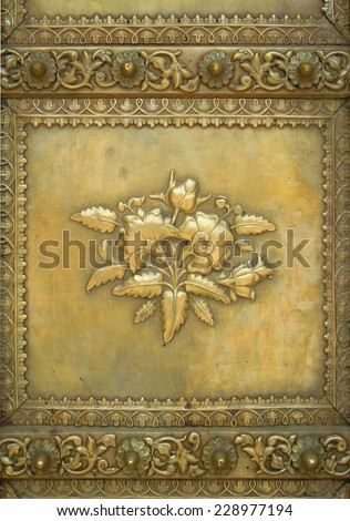 floral indian ornament seen in Jaipur, Rajasthan - stock photo