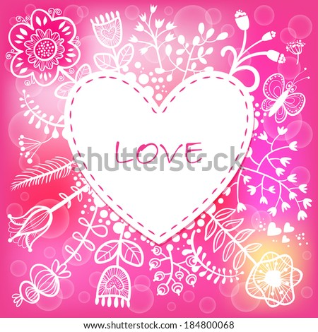 Floral Love Heart background. Raster version. illustration, can be used as creating card, wedding invitation, birthday, valentine's day and other holiday and summer or spring background. - stock photo