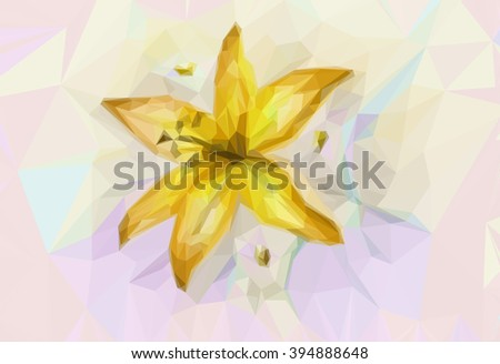 Floral Low Poly Pattern with Yellow Lily.  - stock photo