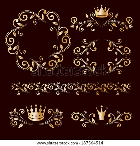 Floral luxury golden design elements, vintage royalty frames, ornamental border with crowns isolated on dark brown background. Raster copy. - stock photo
