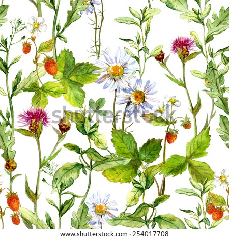 Floral meadow with grass, forest strawberry and wild flowers. Repeating pattern. Water color - stock photo