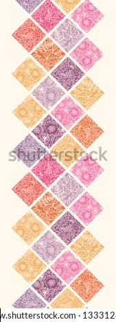Floral mosaic tiles vertical seamless pattern border raster - stock photo