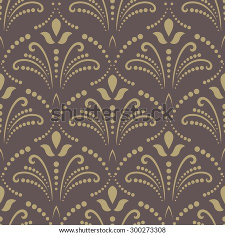 Floral  oriental background with arabesque and floral elements. Seamless abstract texture and background. Brown and golden pattern - stock photo