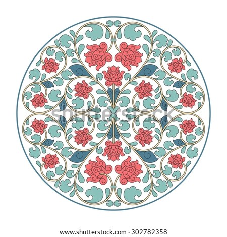 Floral oriental pattern in vintage style. Raster version. - stock photo