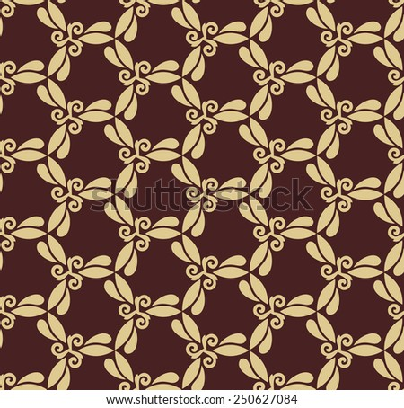 Floral  oriental pattern with damask, arabesque and floral golden elements. Seamless abstract ornament for wallpapers and backgrounds - stock photo