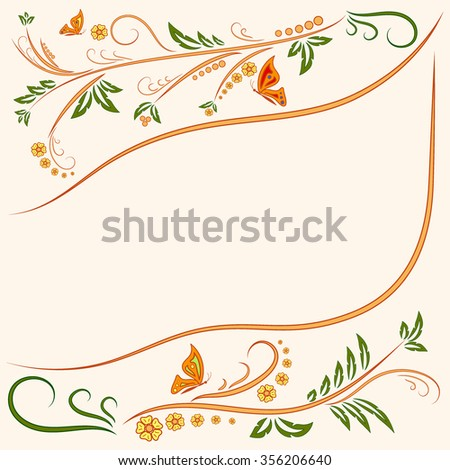Floral ornament background with butterflies. Flowers Illustration Design Elements. Beautiful card with tree branches, foliage, butterfly and fantastic flowers. Ornamental floral element. Stock  - stock photo