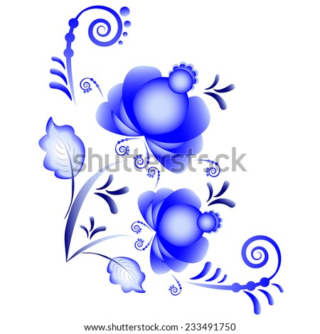Floral ornament in Gzhel style on white background. Russian folklore. Rasterized illustration