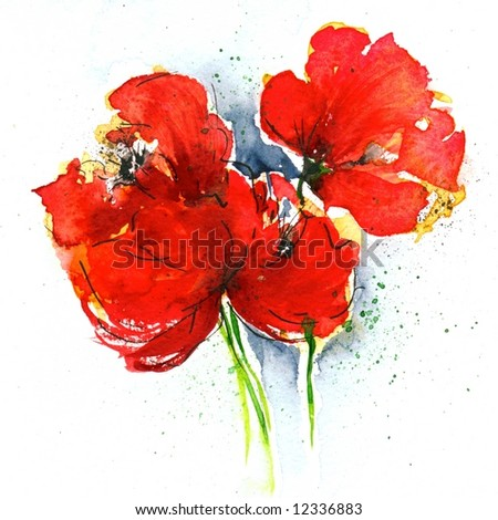 Floral painted  poppy illustration on white background. Ink and watercolor painting. Art is created and painted by the photographer. - stock photo