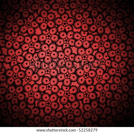 floral pattern dark red - stock photo