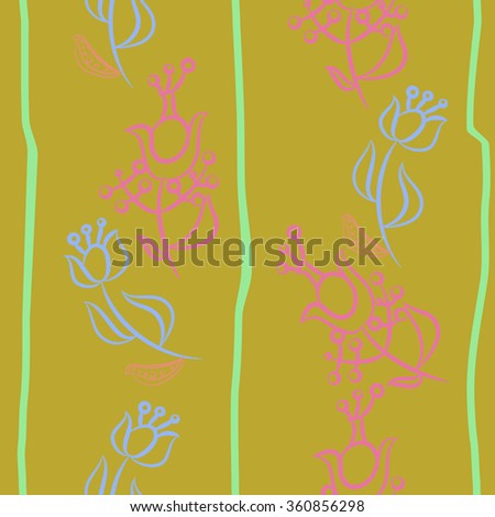 Floral pattern, doodles,ellipses,  branches, leaves, stamens, seamless, vertical. Hand drawn.