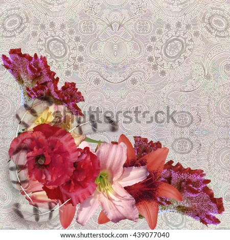 floral pattern on patterned pale  background