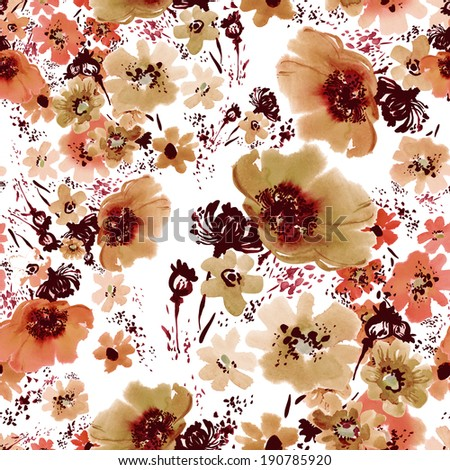 Floral pattern poppies -5 - stock photo