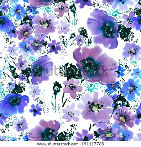 Floral pattern poppies -B - stock photo