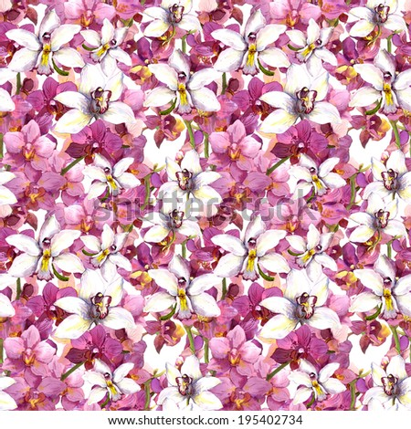 Floral pattern - purple and white orchid flowers. Seamless swatch. Watercolour. - stock photo