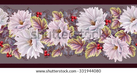 Floral pattern seamless autumn white chrysanthemum flowers - stock photo