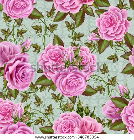 Floral pattern, seamless, flowers roses pink - stock photo