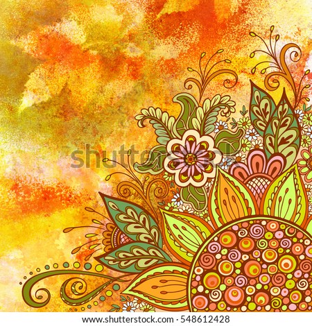 Floral Pattern, Symbolic Flowers and Leafs, Colorful Ornament on Hand-Draw Watercolor Painting Background