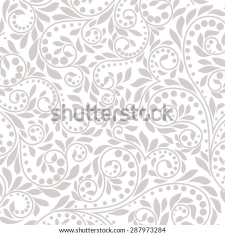 Floral pattern. Wallpaper baroque, damask. Gray and white background. - stock photo