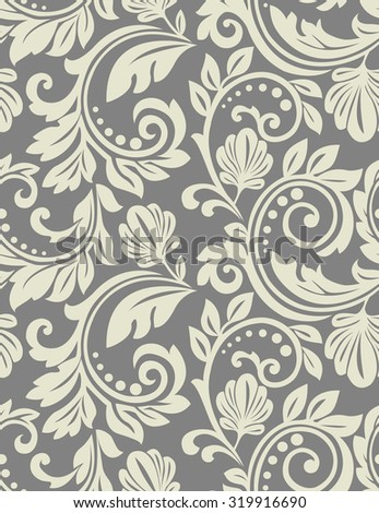 Floral pattern. Wallpaper baroque, damask. Seamless background - stock photo