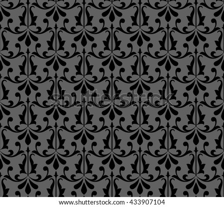 Floral pattern. Wallpaper baroque, damask. Seamless background. Black ornament.