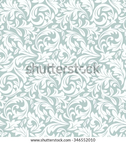 Floral pattern. Wallpaper baroque, damask. Seamless background. Blue and white ornament