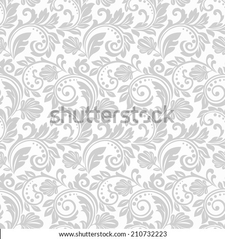 Floral pattern. Wallpaper baroque, damask. Seamless background. Gray and white texture.