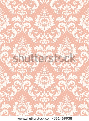 Floral pattern. Wallpaper baroque, damask. Seamless background. Pink and white ornament - stock photo