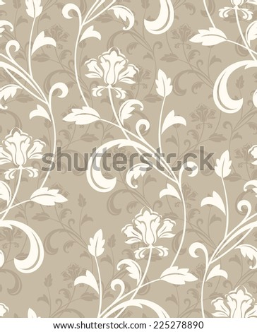Floral pattern. Wallpaper baroque, damask. Seamless beige background. - stock photo