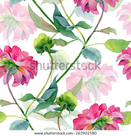 Floral pattern. Watercolor seamless background. Pink dahlias - stock photo