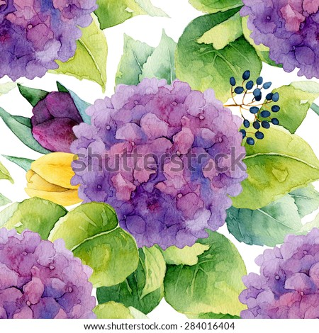 Floral pattern. Watercolor seamless background. Purple hydrangea and tulips - stock photo