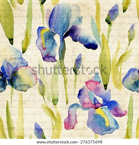 Floral pattern. Watercolor seamless background. Purple iris.