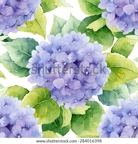Floral pattern. Watercolor seamless background. Violet hydrangea - stock photo