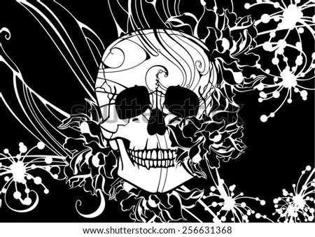 Floral pattern with a skull (raster version) - stock photo