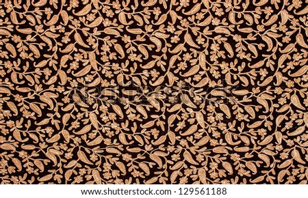 Floral patterns details on an oriental fabric - stock photo